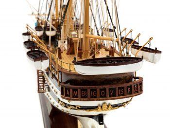 Maquette d'exposition entièrement montée - Mistral Maquettes – Amerigo Vespucci - 90 cm – vue poupe