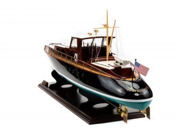 Maquette en bois entièrement montée - Mistral Maquettes – Yacht Aphrodite - 90 cm - vue bâbord arrière