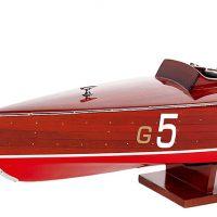 Maquette de collection montée du canot à moteur Baby Bootleeger (70 cm), gros plan de la proue