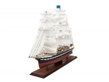 Maquette d'exposition entièrement montée – Mistral Maquettes - Belem (1/75 ème - 81 cm ) - vue latérale bâbord avant