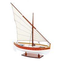 Maquette de collection montée d'une barque catalane (50 cm), bateau traditionnel méditerranéen, vue d'ensemble