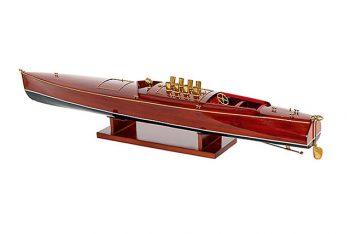 Maquette de collection montée du canot à moteur Dixie II (98 cm), vue d'ensemble