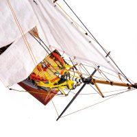 Maquette de collection montée de l'Hermione Musée (1/89 ème - 74 cm ) - vue plongeante avant