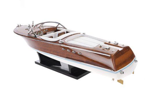 Maquette d'exposition entièrement montée - Mistral Maquettes - Aquarama blanc - 53 cm - vue latérale babord arrière