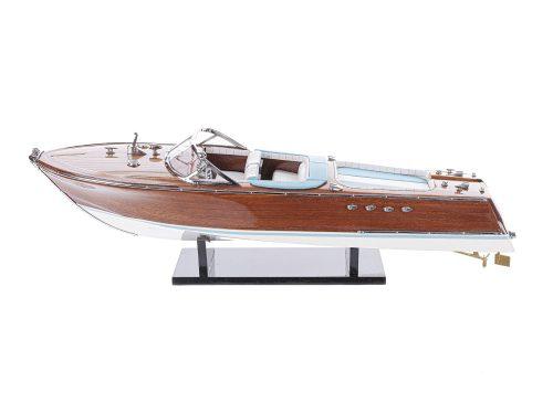 """Maquette d'exposition entièrement montée - Mistral Maquettes - Runabout """"Aqua"""" bleu - 53 cm - vue latérale babord"""