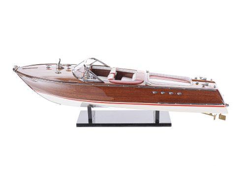 """Maquette d'exposition entièrement montée - Mistral Maquettes - Runabout """"Aqua"""" rouge - 53 cm - vue latérale babord 1"""