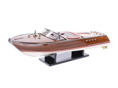 Maquette d'exposition entièrement montée - Mistral Maquettes - Aquarama rouge - 53 cm - vue latérale babord 2