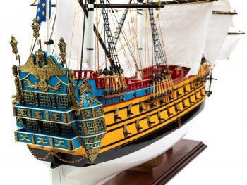Maquette d'exposition entièrement montée – Mistral Maquettes – Galion La Licorne (85 cm), vue tribord château arrière