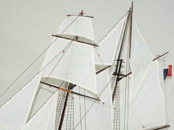 Maquette d'exposition entièrement montée –Mistral Maquettes - La Recouvrance - 80 cm - vue gréement
