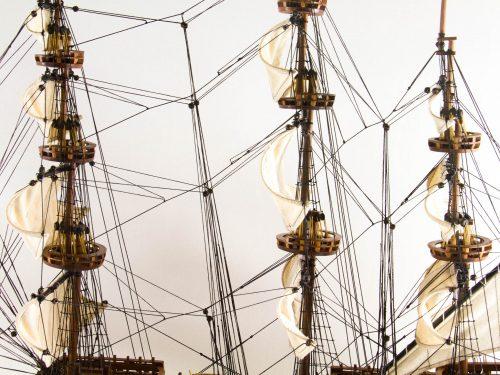 Maquette d'exposition entièrement montée – Mistral Maquettes - Sovereign of the seas - 95 cm - vue gréement