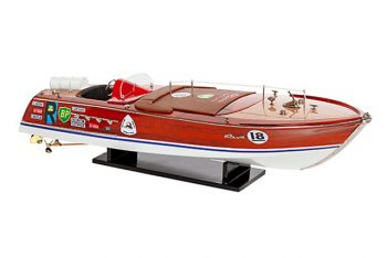 Maquette de collection montée du canot à moteur Montecarlo (70 cm), vue d'ensemble tribord