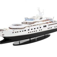 Maquette de collection montée du yacht Pelorus (90 cm), vue d'ensemble babord avant