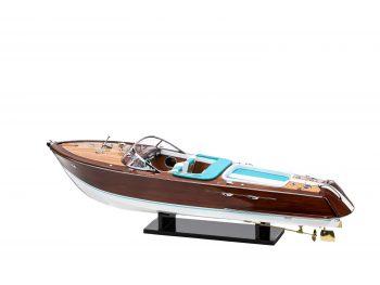"""Maquette en bois entièrement montée - Mistral Maquettes - Runabout """"Aqua"""" bleu - 90 cm - vue globale bâbord"""