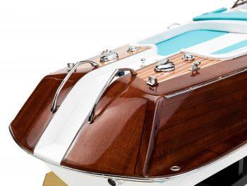 """Maquette en bois entièrement montée - Mistral Maquettes - Runabout """"Aqua"""" bleu - 90 cm - vue détaillée tribord arrière"""