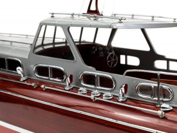 Maquette en bois entièrement montée - Mistral Maquettes – Yacht Thunderbird - 90 cm - Gros plan vue bâbord roof