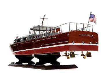 Maquette en bois entièrement montée - Mistral Maquettes – Yacht Thunderbird - 90 cm - Vue plongeante bâbord arrière