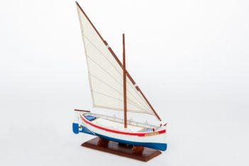 maquette de collection montée d'une barquette méditerranéenne (35cm), bateau traditionnel de Provence