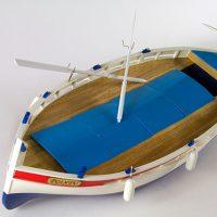 Maquette de collection montée du bateau de pêche Le Pointu (68 cm), bateau traditionnel méditerranéen